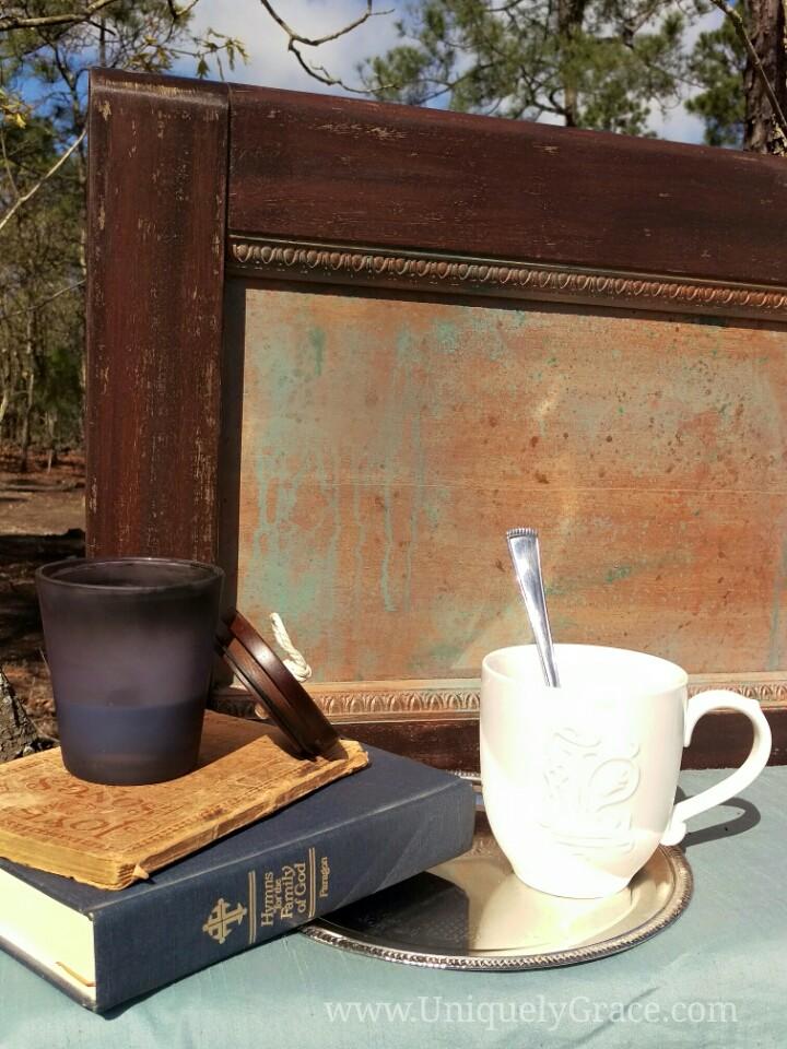 Vintage mahogany wood frame headboard bed chalk paint liquid wax terra bella uniquely grace
