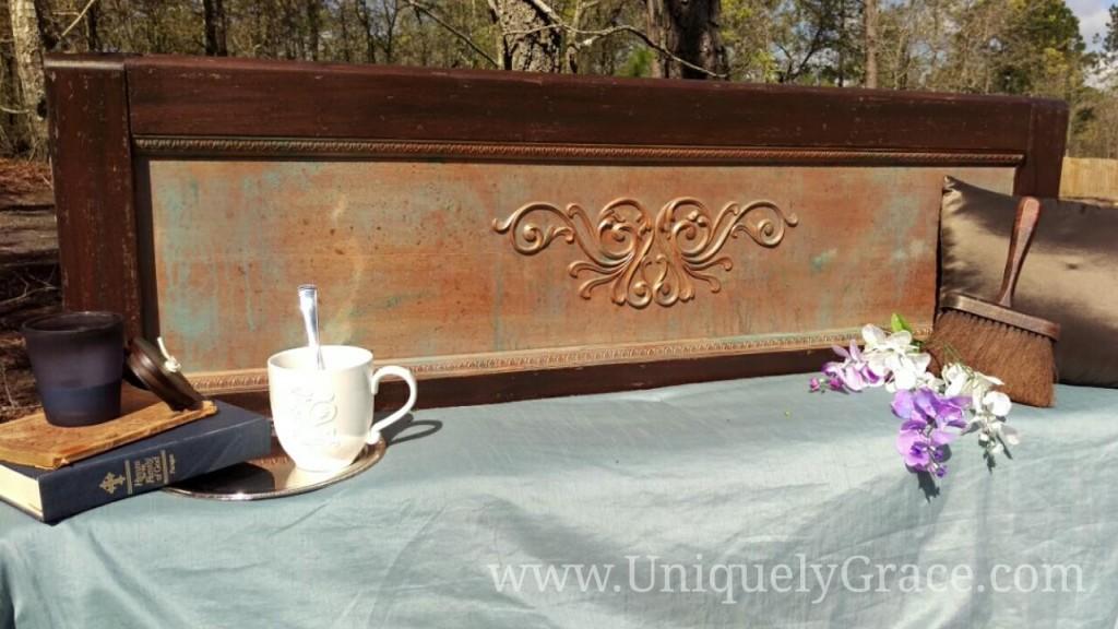 Vintage mahogany wood headboard scroll egg dart molding copper patina uniquely grace terra bella