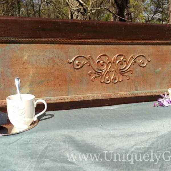 Rustic Vintage Mahogany Fullsized headboard with metal bed frame
