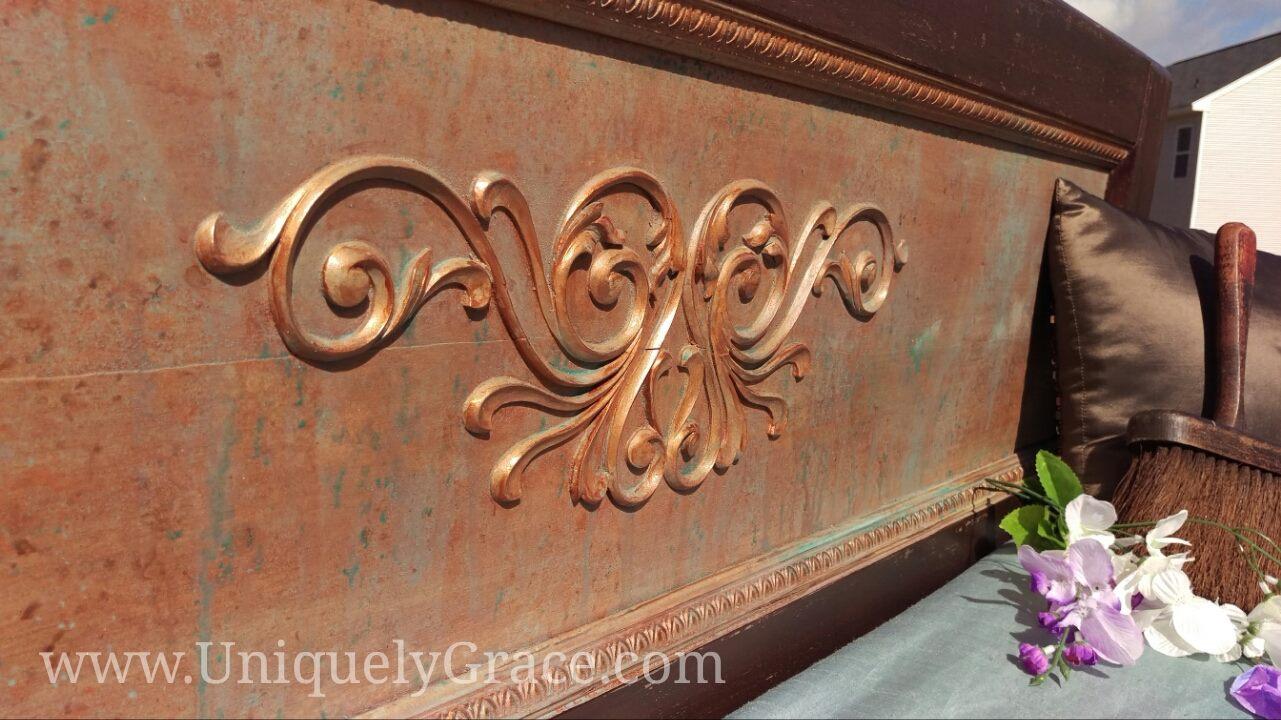 Rustic Vintage Mahogany Full Sized Headboard With Metal