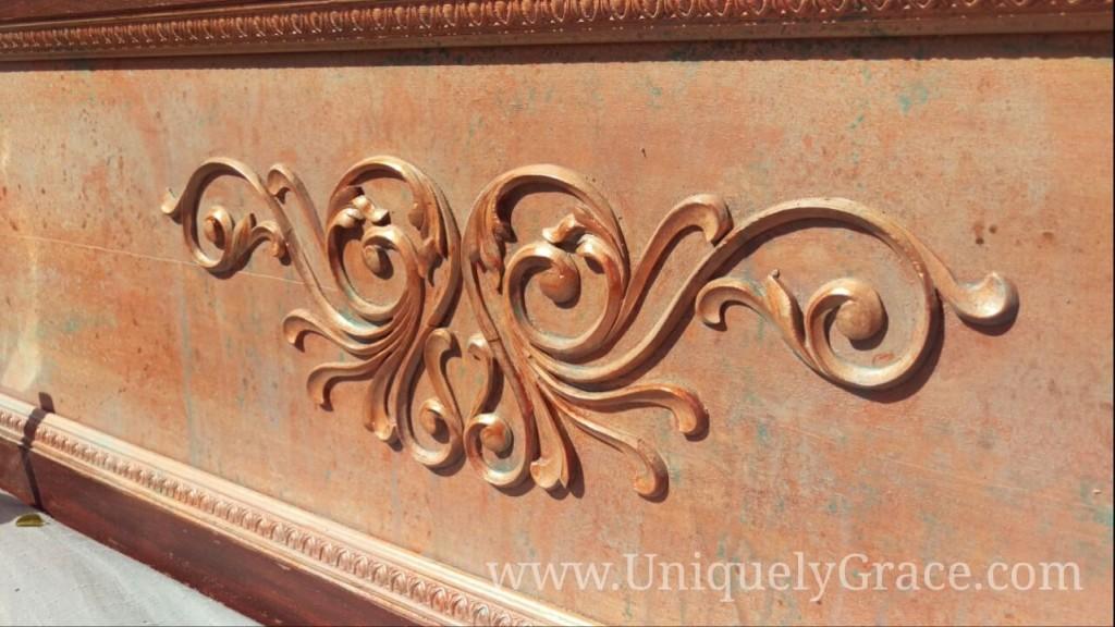 vintage mahogany close up scroll shine copper penny paint chalk terra bella uniquely grace