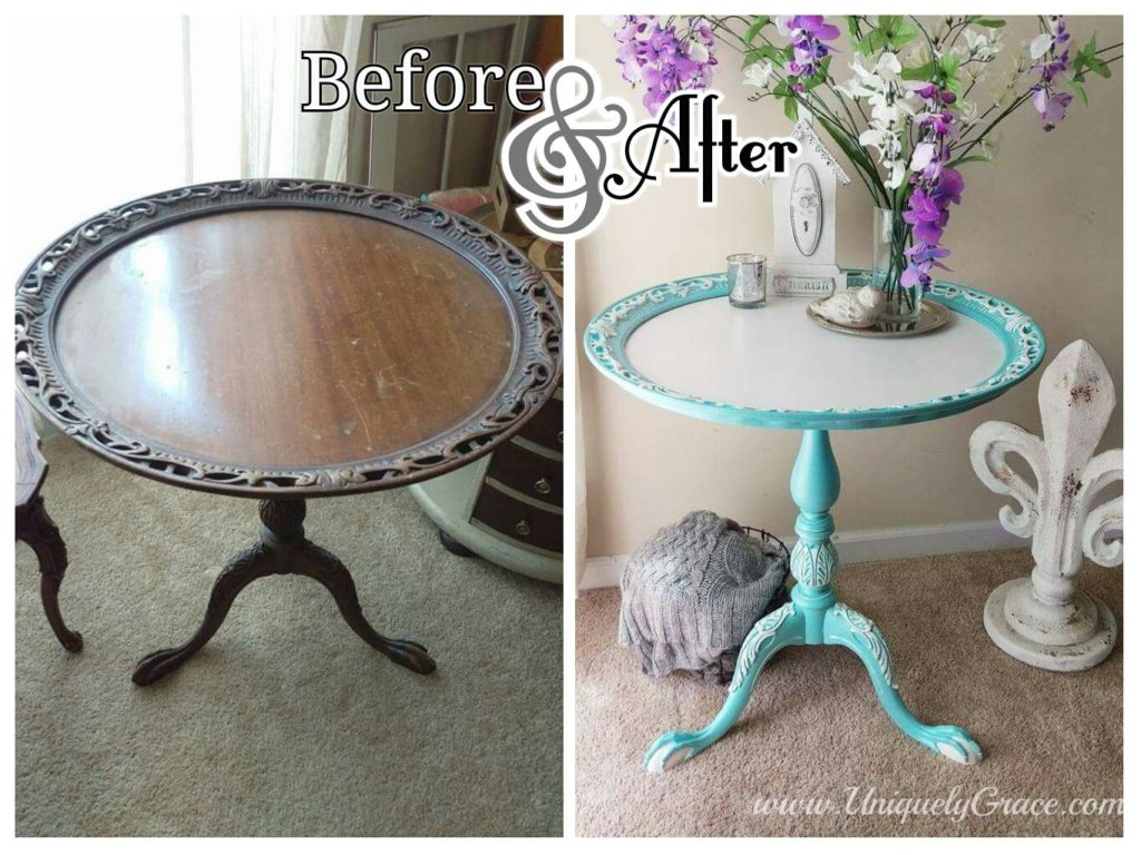 Before and after of Tiffany tea table pie crust edge with tri leg pedastal with ball and claw foot