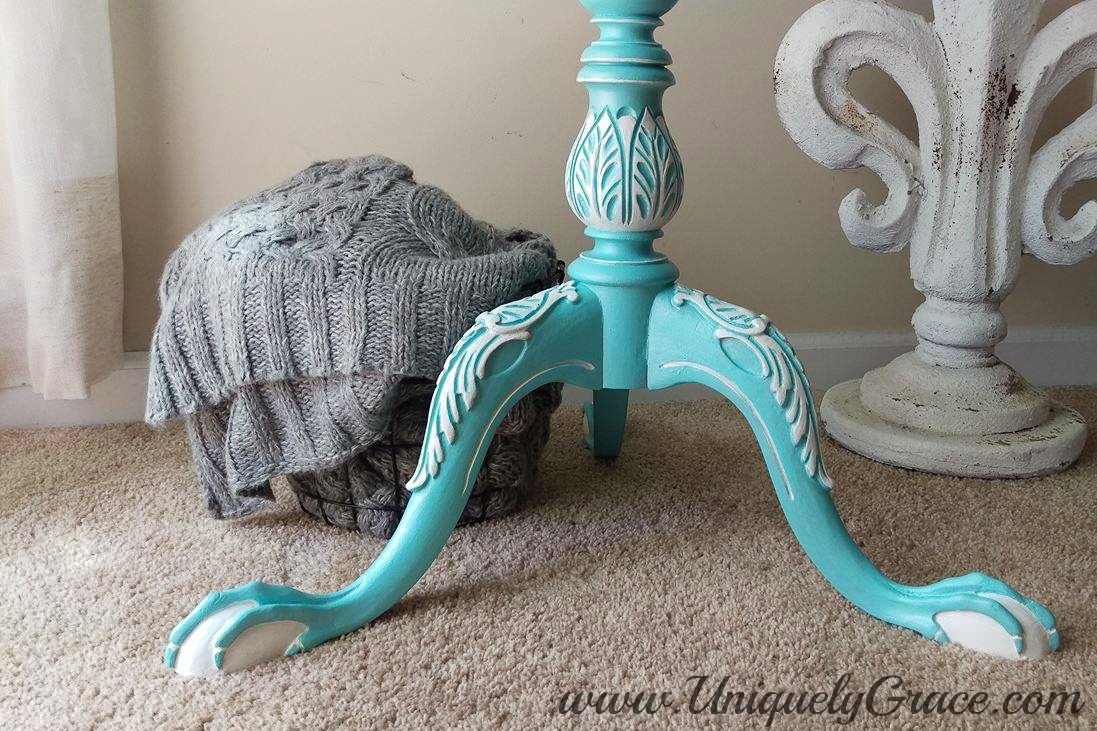 Ball Claw Leg Pedestal Pie Crust Table French Hand Painted Uniquely Grace Robins Nest Blue