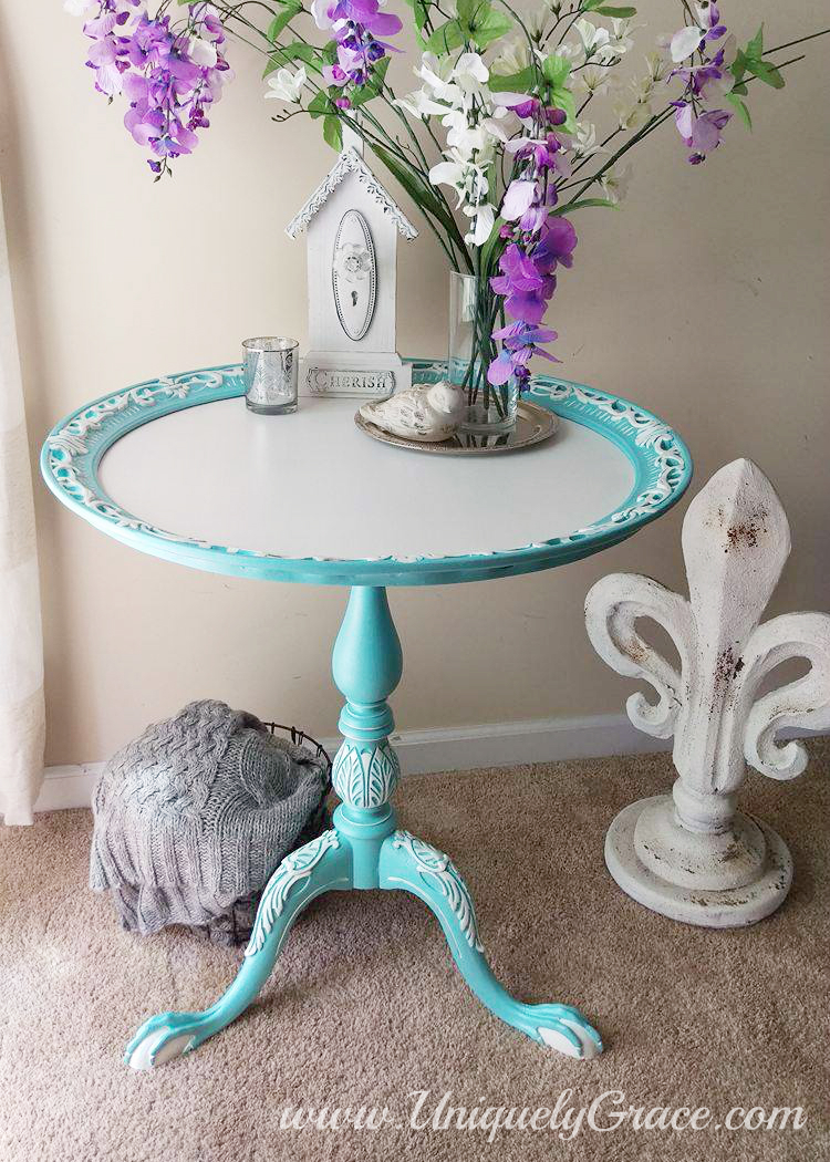 Tiffany Pie Crust Table White French Details Hand Painted Uniquely Grace Robins Nest Blue Snowfall Terra