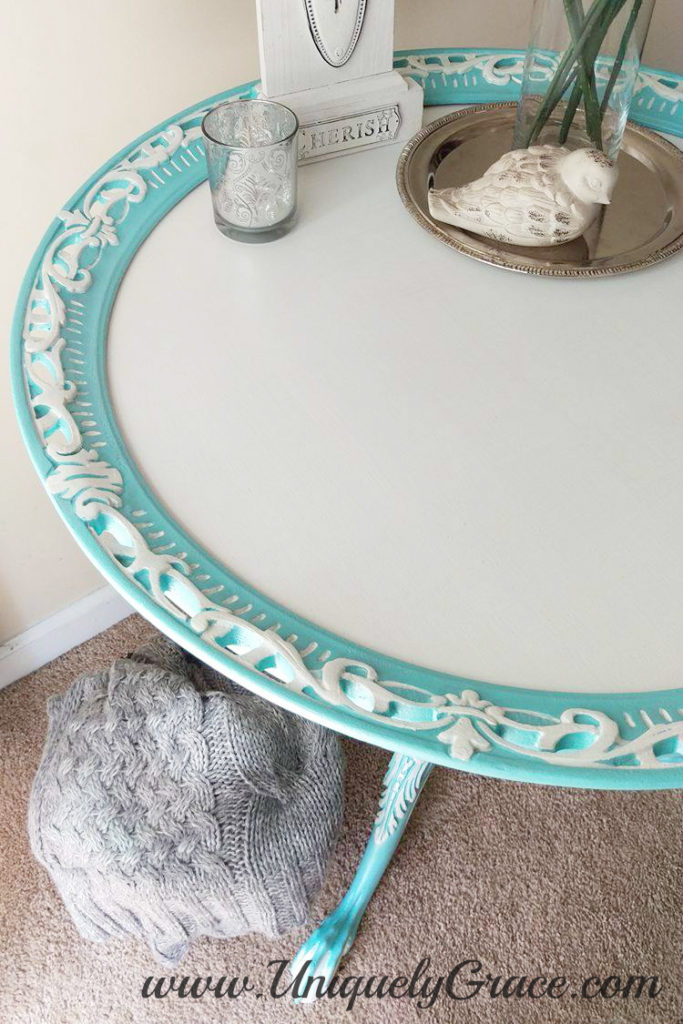 Tiffany punched detail pearl pie crust table french hand painted uniquely grace Robins Nest Blue Snowfall Terra bella acrylic chalk paint