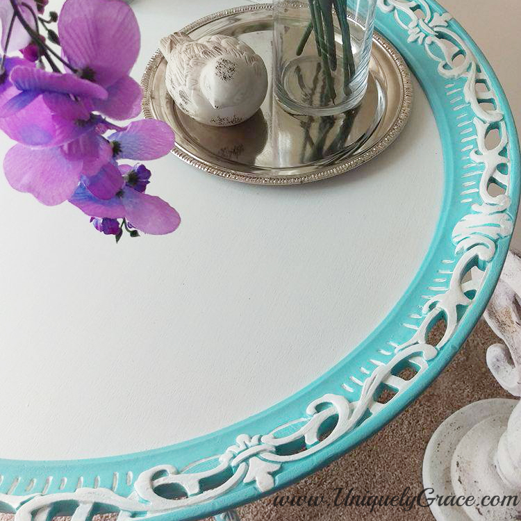 Tiffany punched detail pie crust table french hand painted uniquely grace Robins Nest Blue Snowfall Terra bella acrylic chalk paint