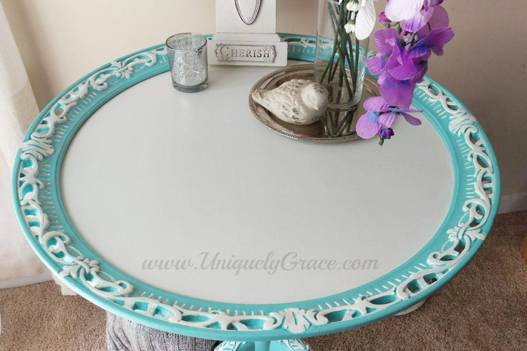 top detail Tiffany pie crust table white french tea hand painted uniquely grace Robins Nest Blue Snowfall Terra bella acrylic chalk paint