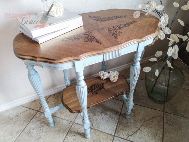 Antique Parlor Entryway Console Table Charlotte Uniquely Grace French Country Blue Peony Floral Art Hand painted Drawn Chalk Paint Terra Bella Finishes Refinished Referbished (6)