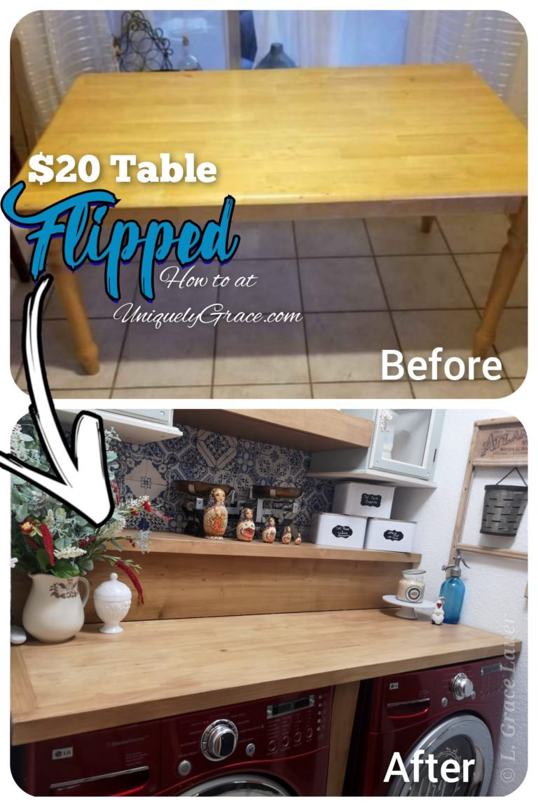 Before-After-Dinning-table-flipped-folding-counter-top-shelf-laundry-room-makeover-diy-step-by-step-uniquely-grace