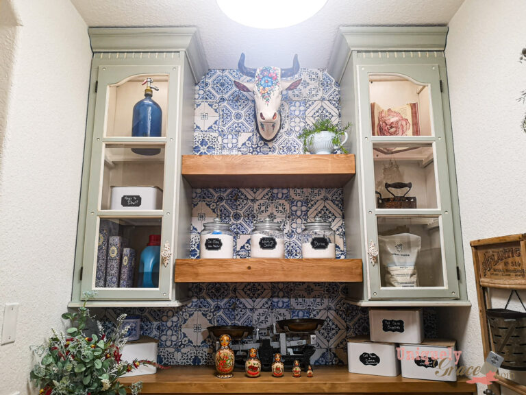 How To China Hutch Upcycle Wall Cabinet uniquely Grace makeover chalk paint furniture flip laundry room finished (4)
