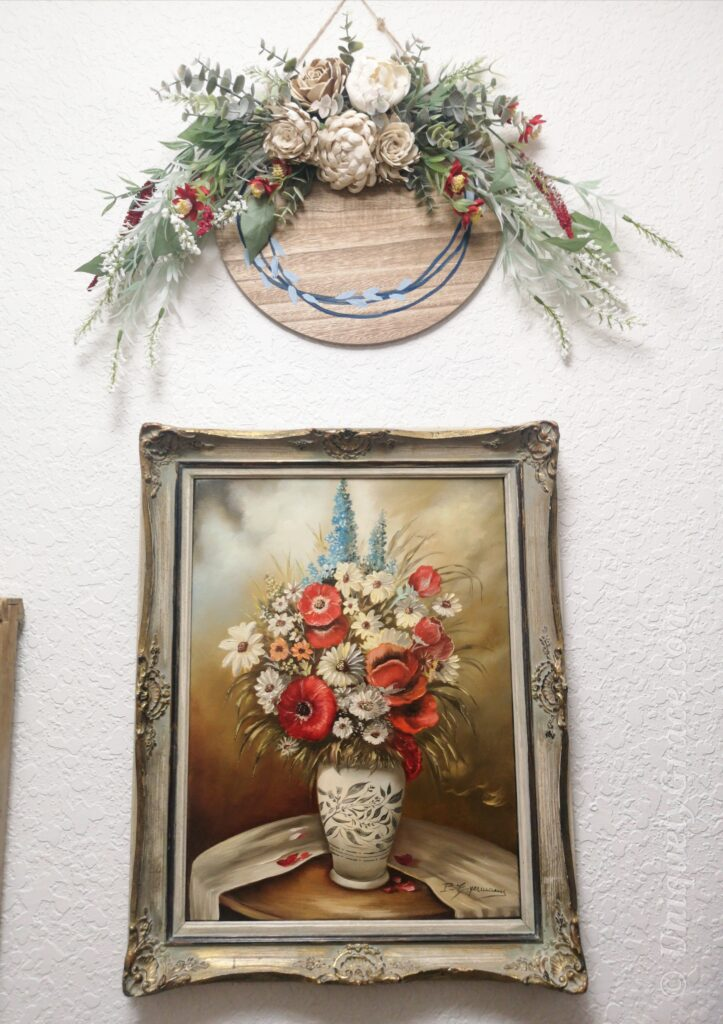 Red, White & Blue Floral Wood Circle Wreath 20 minute Craft Laundry Room Remodel