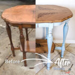 French country parlor table before and after Uniquely Grace Designs refinished it.