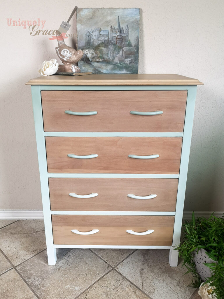 Ombre blended faded dresser bleached wood natural furniture refinishhing baby boho wooden chalk paint 4 drawers uniquely grace front view Lovely Transformation from broken to beautiful