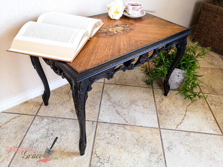 Tea Table with antique black ebony vintage distressed refinished uniquely grace terra bella paint finishes sealer wax raven ebony antique glaze distressing (1)