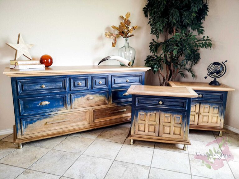 Uniquely Grace dresser set night stand thomasville dovetail drawers antique brass hardware bayalege finish terra bella paints Navy edgy modern bedroom
