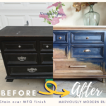 Before and After images of the refinishing process for this Thomasville Dresser .