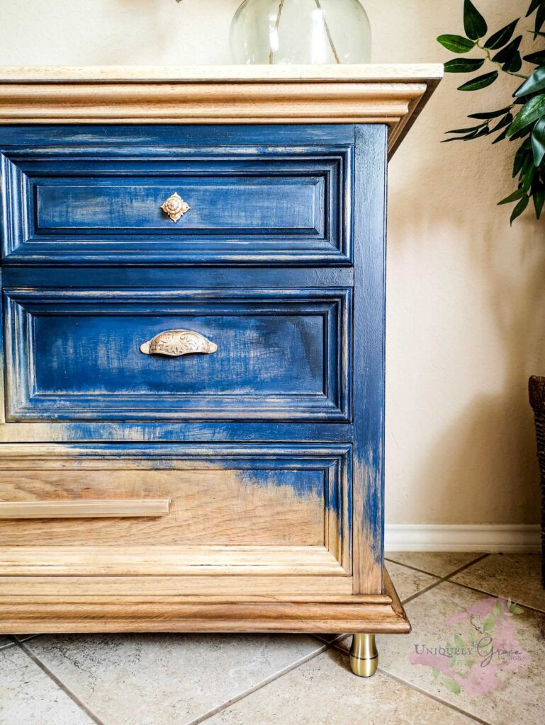 Yes you can use different hardware for one piece. This is a beautiful blue and raw wood finished rustic dresser with three different types of drawer pulls.