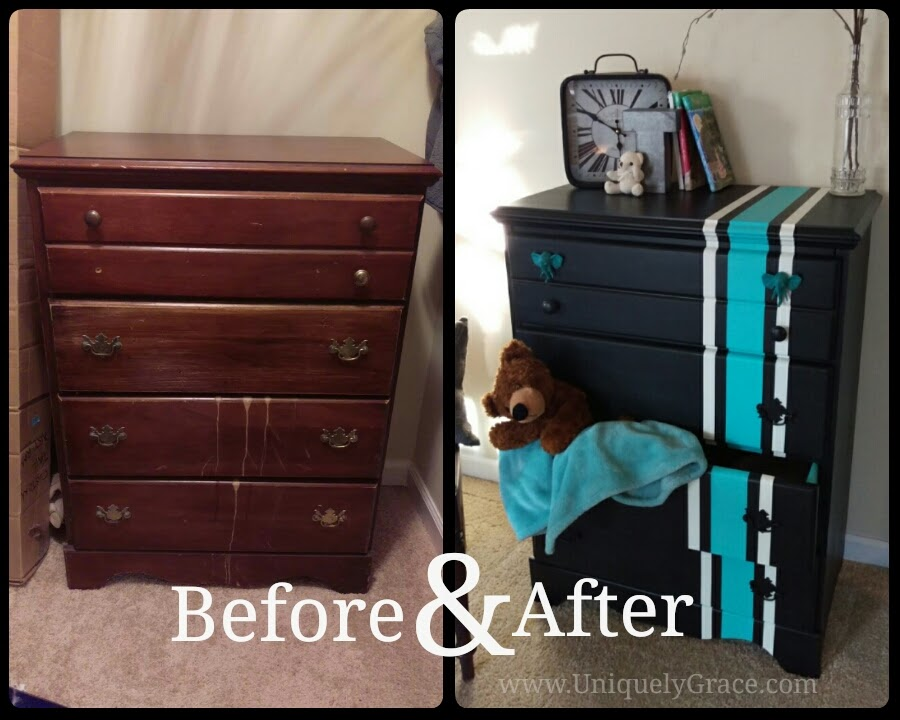 Before photo of scratched, dented dresser missing a knob and refinished photo of it in black with white and teal racing stripe
